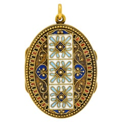 Etruscan Revival Victorian Enamel 14 Karat Gold Beaded Locket, circa 1870