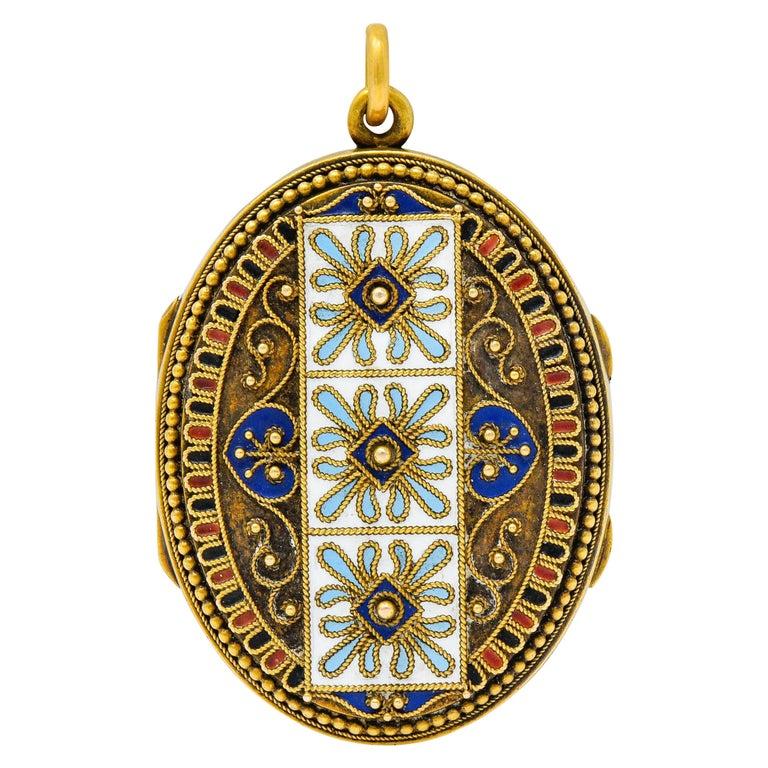 Etruscan Revival Victorian Enamel 14 Karat Gold Beaded Locket, circa 1870 For Sale