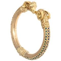 Etruscan Revival Vintage Ram 18 Karat Gold Enamel Bracelet