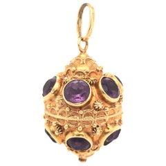 Etruscan Style 18 Karat Yellow Gold Jumbo Charm Pendant Amethyst Gemstones