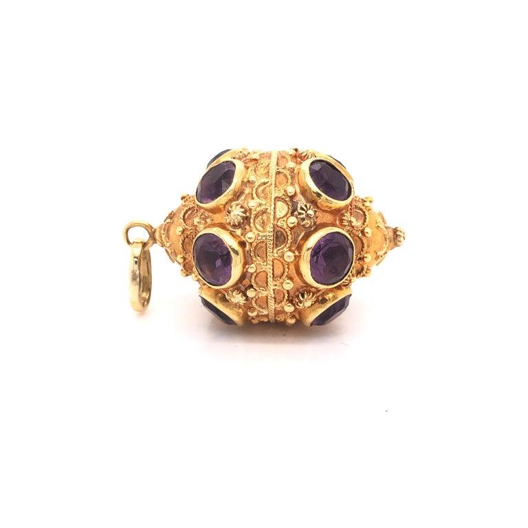 Etruscan Revival Etruscan Style 18 Karat Yellow Gold Jumbo Charm Pendant Amethyst Gemstones For Sale