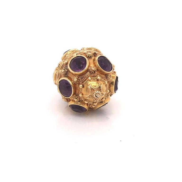 Round Cut Etruscan Style 18 Karat Yellow Gold Jumbo Charm Pendant Amethyst Gemstones For Sale