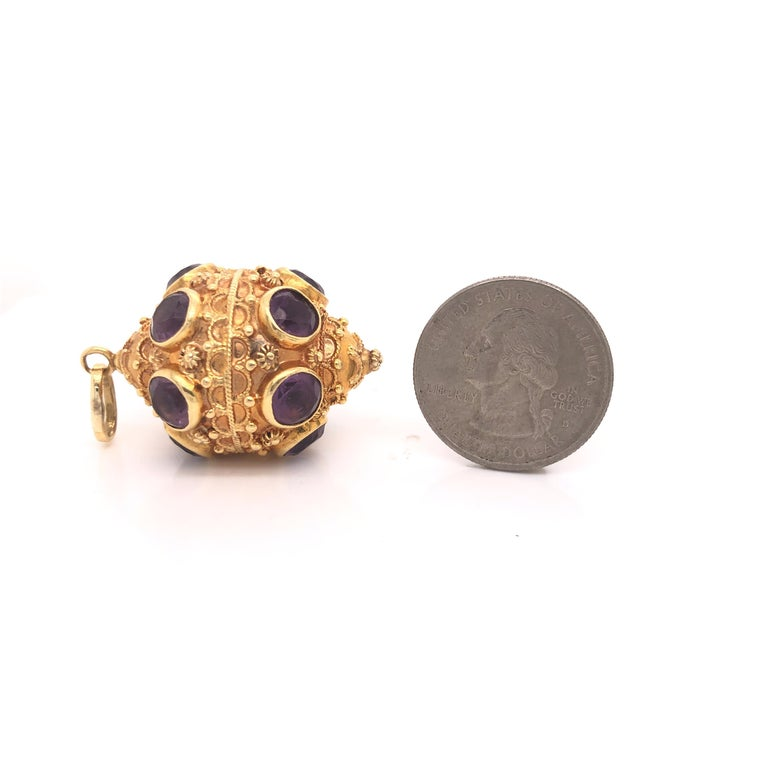 Etruscan Style 18 Karat Yellow Gold Jumbo Charm Pendant Amethyst Gemstones In Excellent Condition For Sale In MIAMI, FL