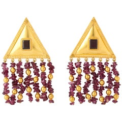 Etruscan Style Amethyst Yellow Gold Earrings