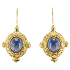 Etruscan Style Blue Crystal Vermeil Drop Earrings