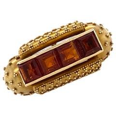 Etruscan Style Honey Citrine Satin Finish Yellow Gold Vintage Ring Signed Birks