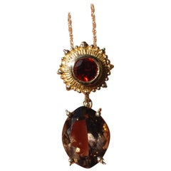 Etruscan Style Smokey Topaz and Garnet Pendant Necklace, Drop