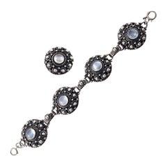 Etruscan Style Sterling Silver Moonstone Link Bracelet and Ring Set