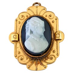 Etruscan Style Stone Cameo Pin/Pendant