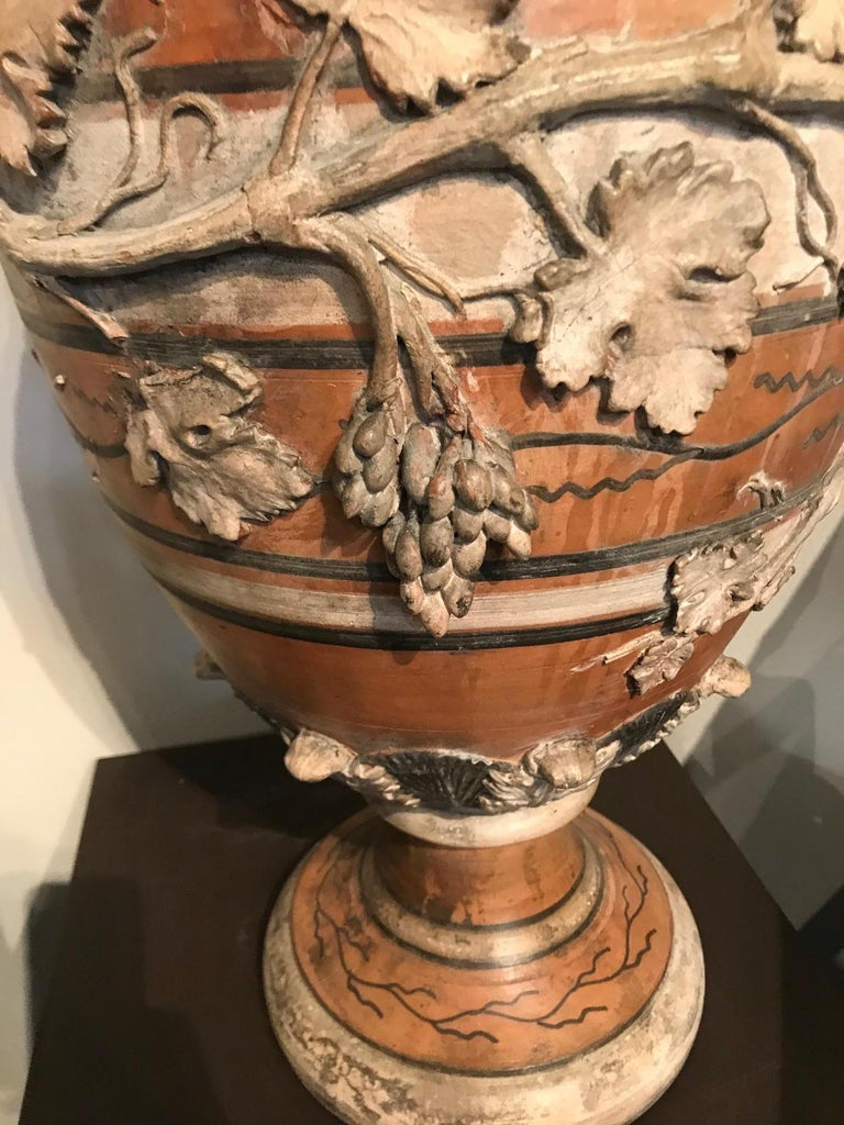Etruscan Style Terracotta Ewer with Wine Leaf Motifs For Sale 5