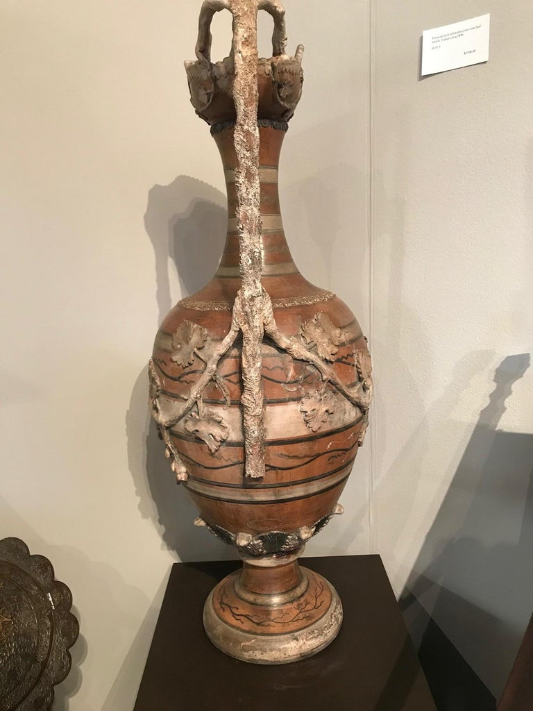 Etruscan Style Terracotta Ewer with Wine Leaf Motifs For Sale 6