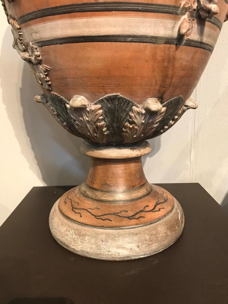 Etruscan Style Terracotta Ewer with Wine Leaf Motifs For Sale 7
