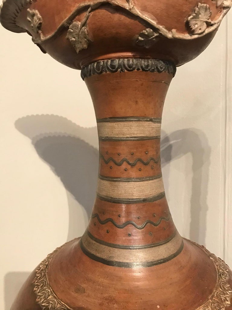 French Etruscan Style Terracotta Ewer with Wine Leaf Motifs For Sale
