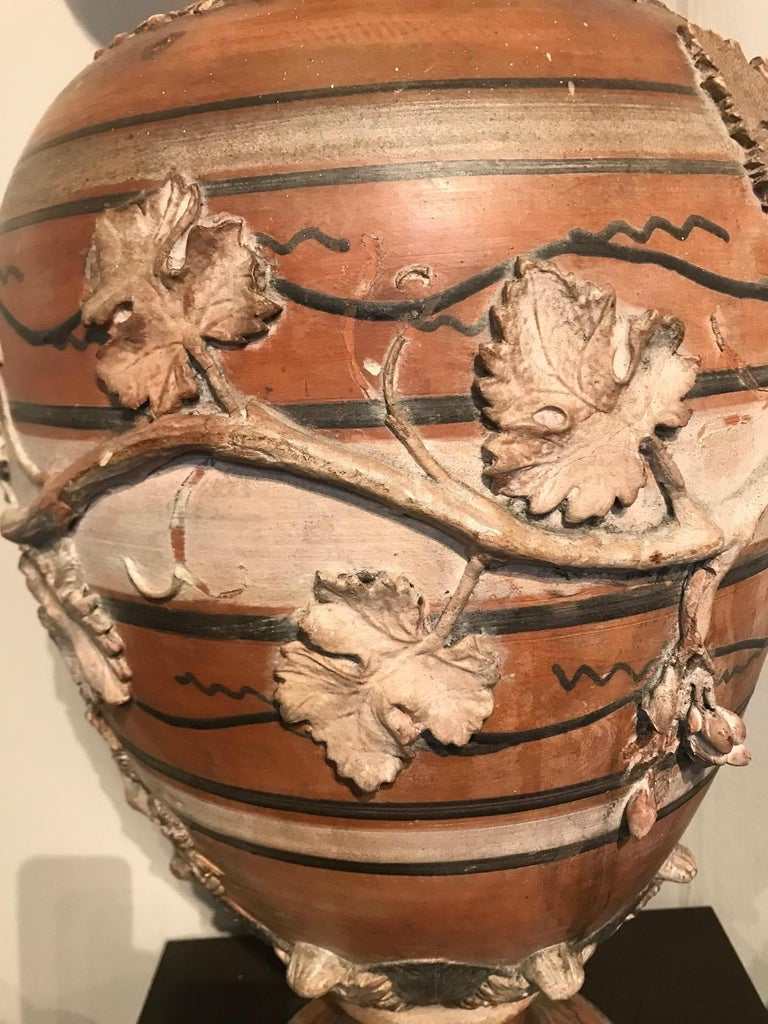 Etruscan Style Terracotta Ewer with Wine Leaf Motifs In Good Condition For Sale In Montreal, QC