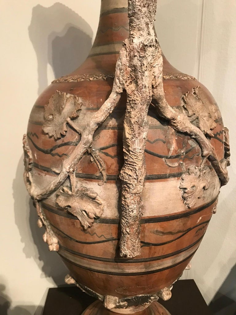 Etruscan Style Terracotta Ewer with Wine Leaf Motifs For Sale 1