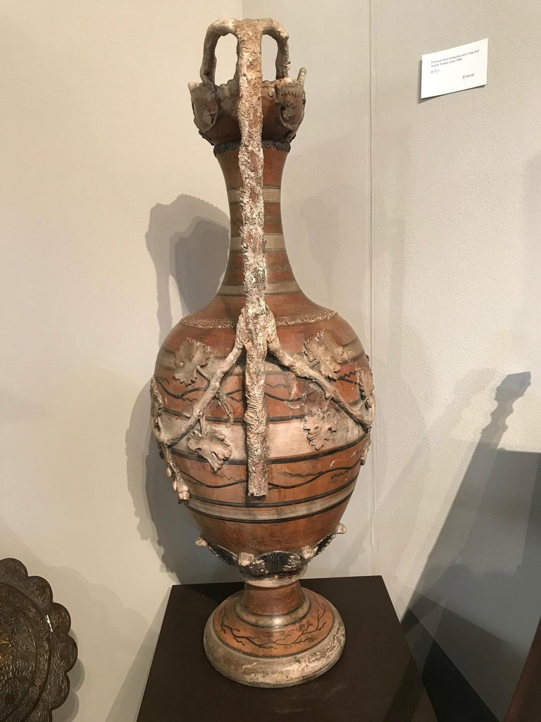 Etruscan Style Terracotta Ewer with Wine Leaf Motifs For Sale 2