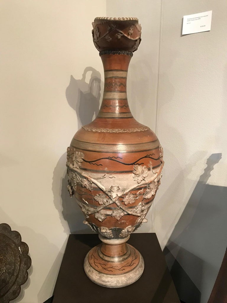 Etruscan Style Terracotta Ewer with Wine Leaf Motifs For Sale 3