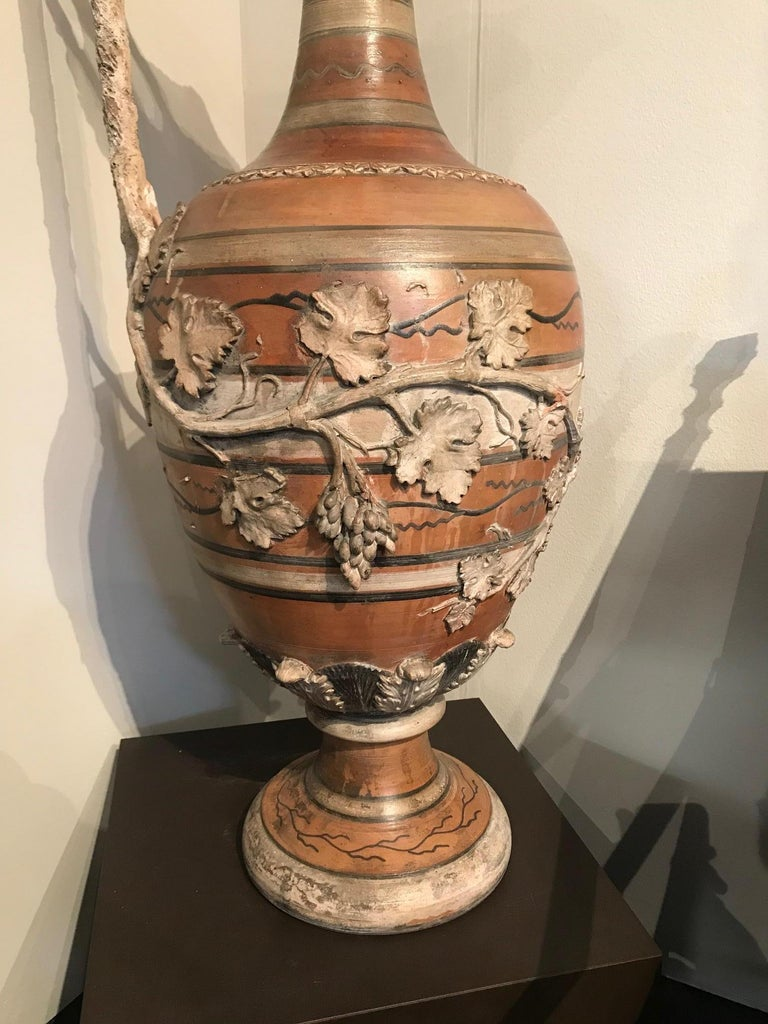 Etruscan Style Terracotta Ewer with Wine Leaf Motifs For Sale 4