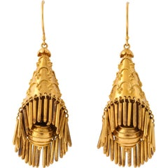 Etruscan Style Yellow Gold Earrings
