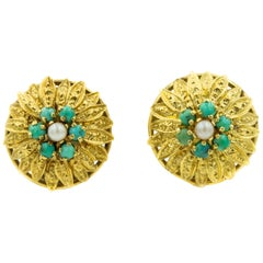 Etruscan Stylized Leaf Turquoise and Pearl Yellow Gold Flower Clip-On Earrings
