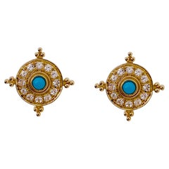 Etruscan Turquoise Earring Surrounded by Brilliant White Topaz in 14k Gold