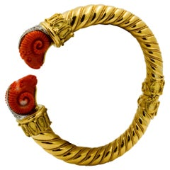 Etruscan Yellow Gold and Carved Coral Rams with Diamonds on Bangle Bracelet