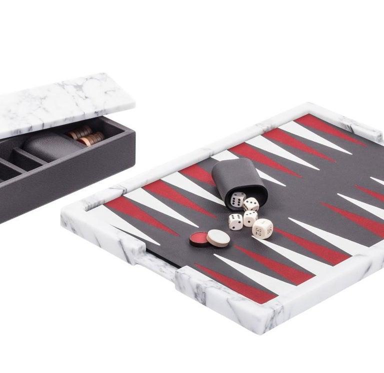 Ettore Arabescato Marble Backgammon Board In New Condition For Sale In Milan, IT