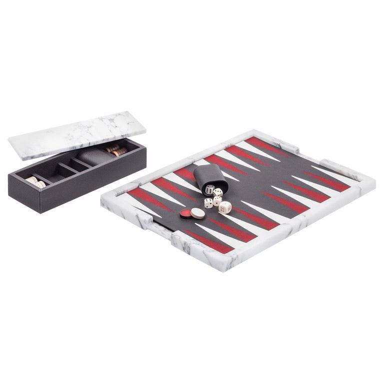 Italian Ettore Arabescato Marble Backgammon Board For Sale