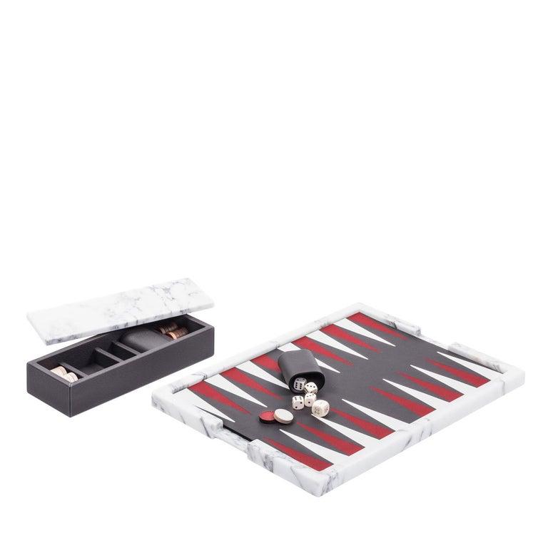 Ettore Arabescato Marble Backgammon Board For Sale