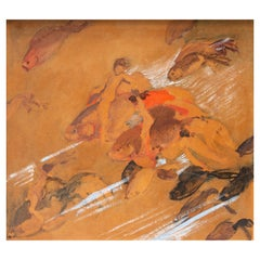 Ettore Caser 20th Century Signed Oil Painting