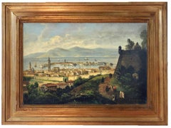 Messina - Ettore Ferrante Oil on Canvas Italian Landscape Painting