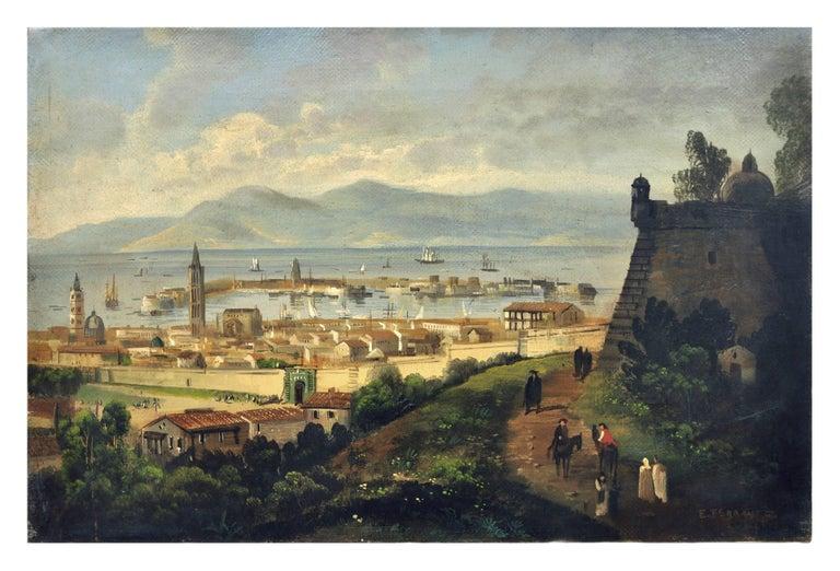 MESSINA- Posillipo School -Oil on Canvas Italian Landscape Painting For Sale 1