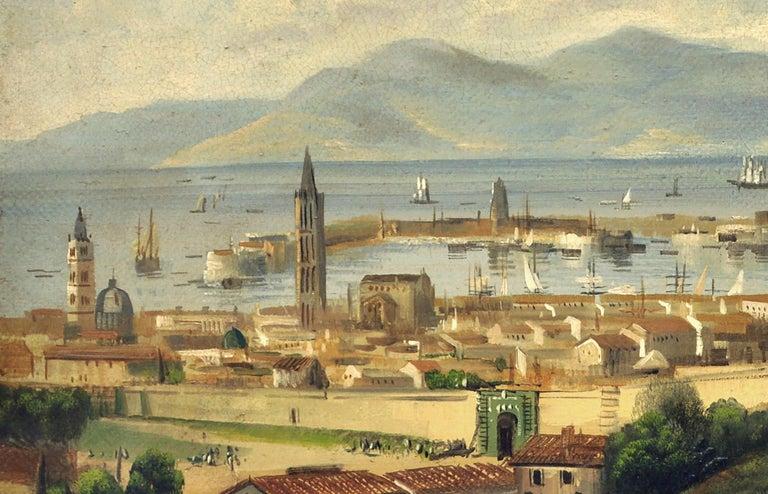 MESSINA- Posillipo School -Oil on Canvas Italian Landscape Painting For Sale 2