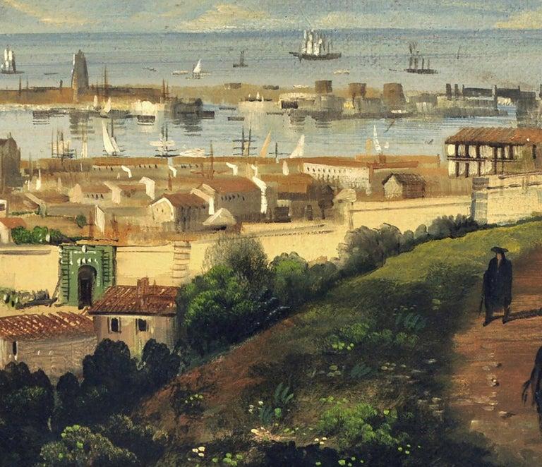 MESSINA- Posillipo School -Oil on Canvas Italian Landscape Painting For Sale 3