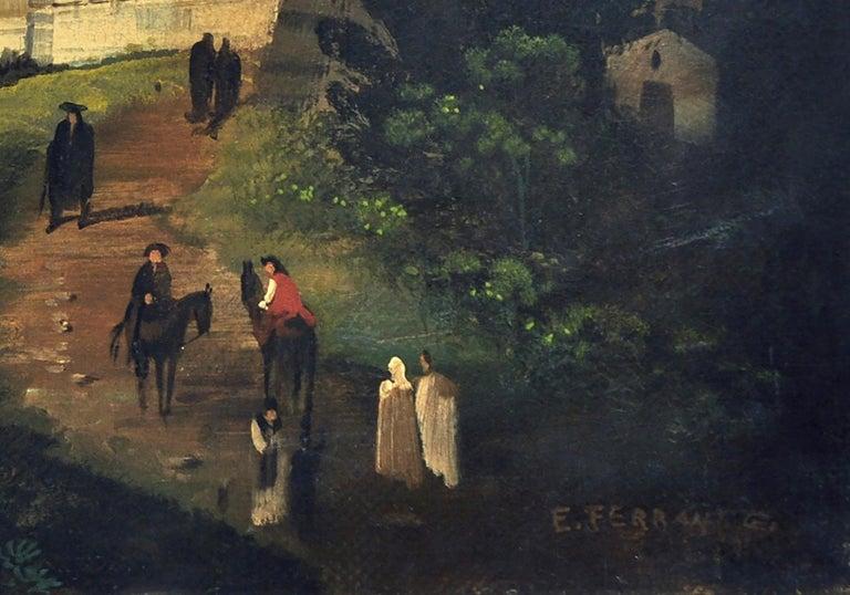 MESSINA- Posillipo School -Oil on Canvas Italian Landscape Painting For Sale 4