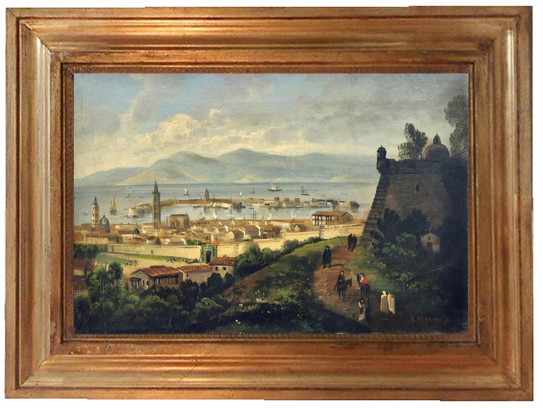 Messina - Ettore Ferrante Italia 2003 - Oil on canvas cm.40x60. Gold leaf gilded wooden frame The painting by E. Ferrante is inspired by the great masters of the Posillipo School, including Antonio Pitloo and Giacinto Gigante, who used the Navy as a
