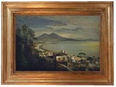 Naples - Ettore Ferrante Oil on Canvas Italian Landscape Painting
