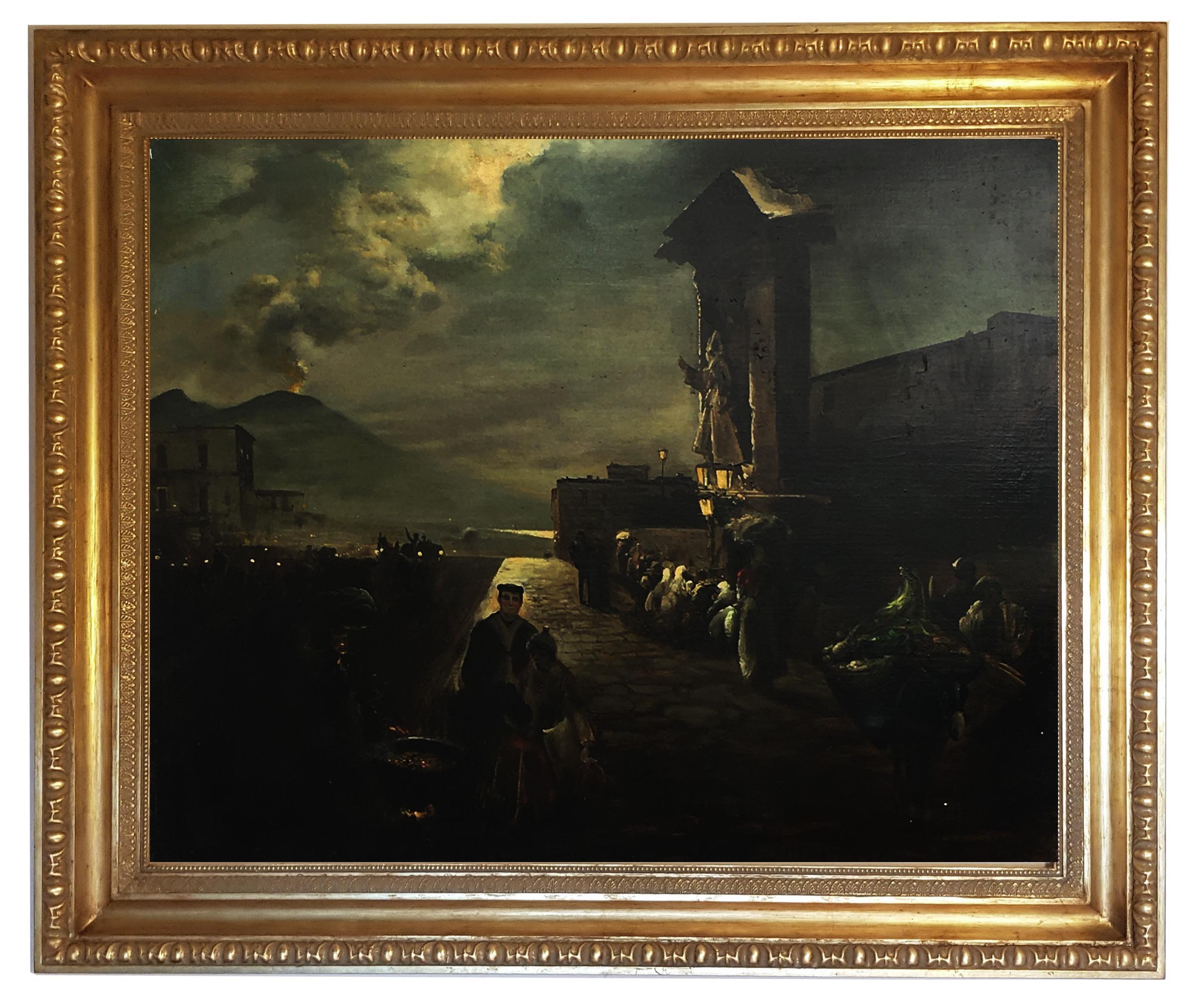 NAPLES - Posillipo School - Italian Landscape Oil on Canvas Painting
