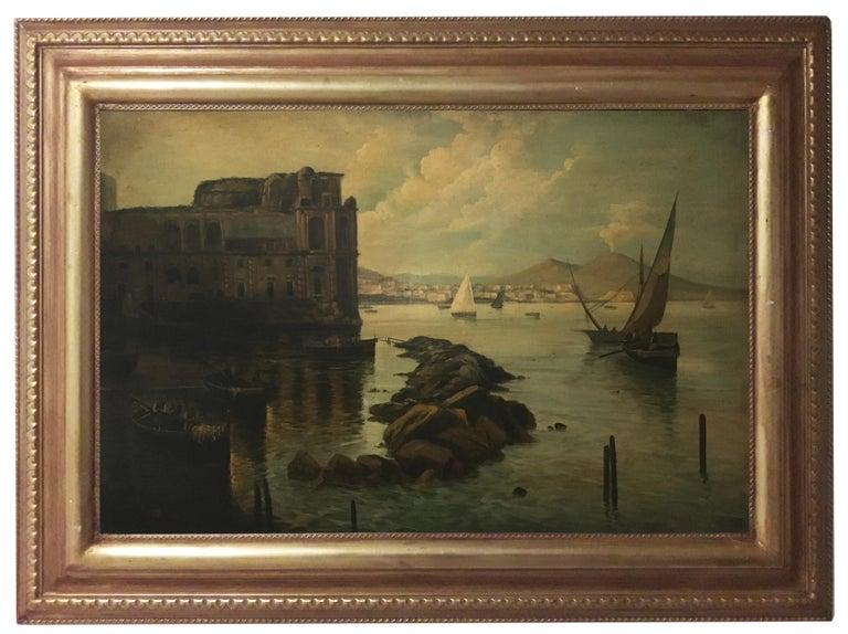 NAPLES - Italian landscape oil on canvas painting, Ettore Ferrante - Brown Landscape Painting by Ettore Ferrante