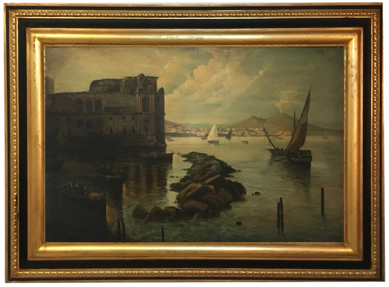 Naples - Ettore Ferrante - Italia - Oil on canvas cm. 60x90. Gold leaf gilded  wooden frame mis. est. 86x116. Ettore Ferrante is a refined and excellent view painter of the past. As a critic of art, it is a real pleasure to talk about him.