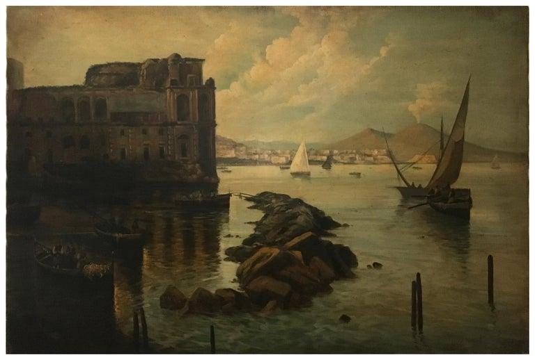 NAPLES - Italian landscape oil on canvas painting, Ettore Ferrante For Sale 1
