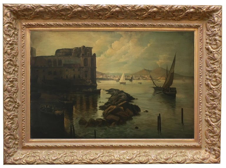 NAPLES - Italian landscape oil on canvas painting, Ettore Ferrante - Painting by Ettore Ferrante