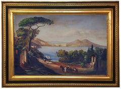 NAPLES -Posillipo School -  Italian Landscape Oil on Canvas Painting