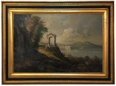 NAPLES -Neapolitan School - Italian Landscape Oil on canvas Painting