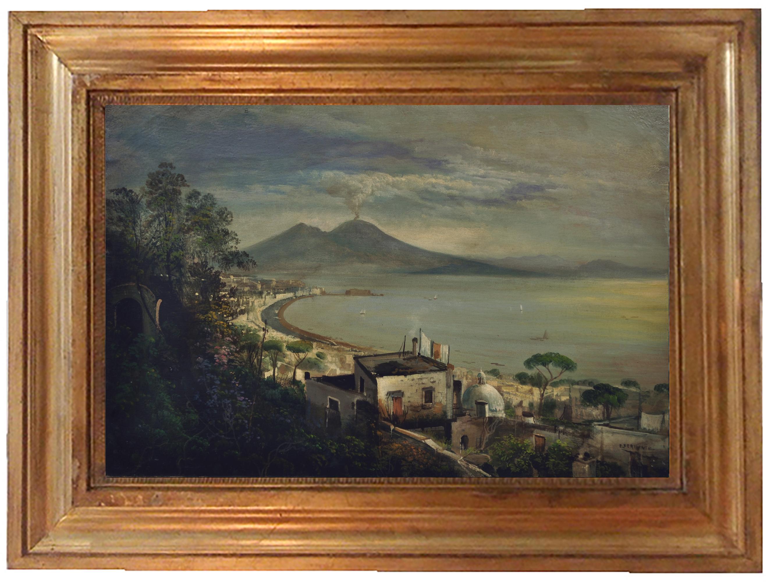 NAPLES - Posillipo School -Oil on Canvas Italian Landscape Painting