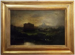 Rome - Ettore Ferrante Oil on Canvas Italian Landscape Painting