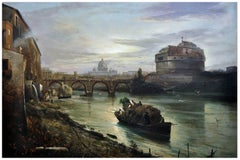 ROME - Italian landscape oil on canvas painting by Ettore Ferrante