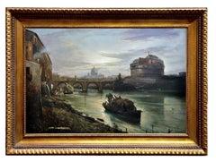 ROME - Italian landscape oil on canvas painting by Ettore Ferrante