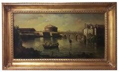 ROME - Italian landscape oil on canvas painting, Ettore  Ferrante