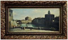 ROME - Italian School -  Landscape Oil on Canvas Painting,